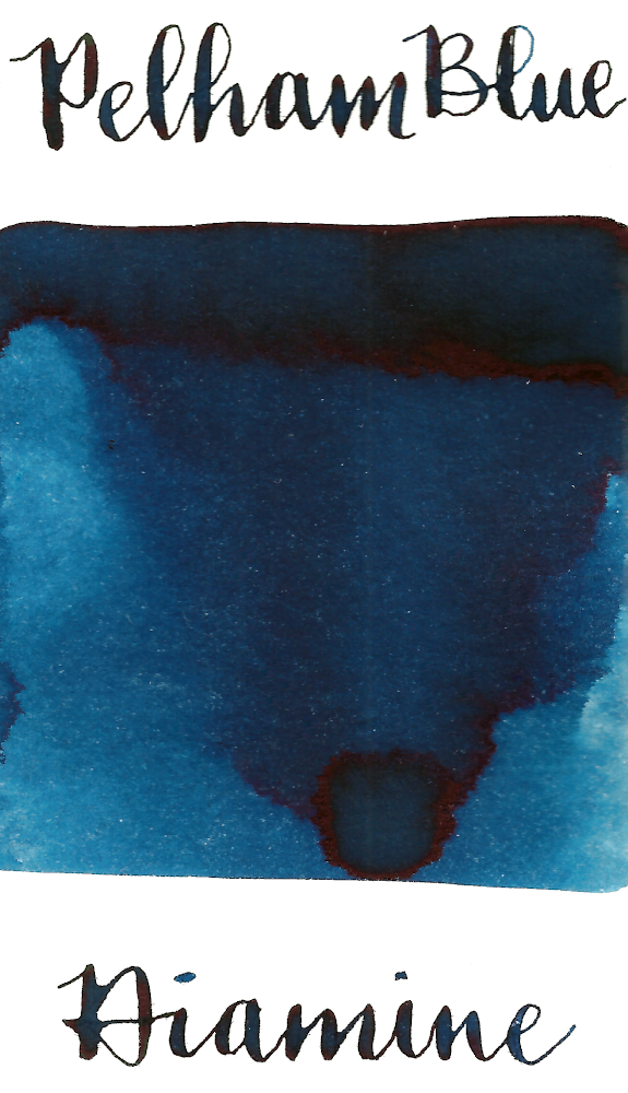Diamine Pelham Blue is a medium blue fountain pen ink with medium shading.