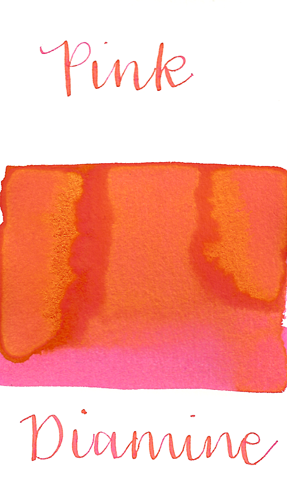 Diamine Pink is a bright summery pink fountain pen ink with a pop of gold sheen, especially in large swabs.