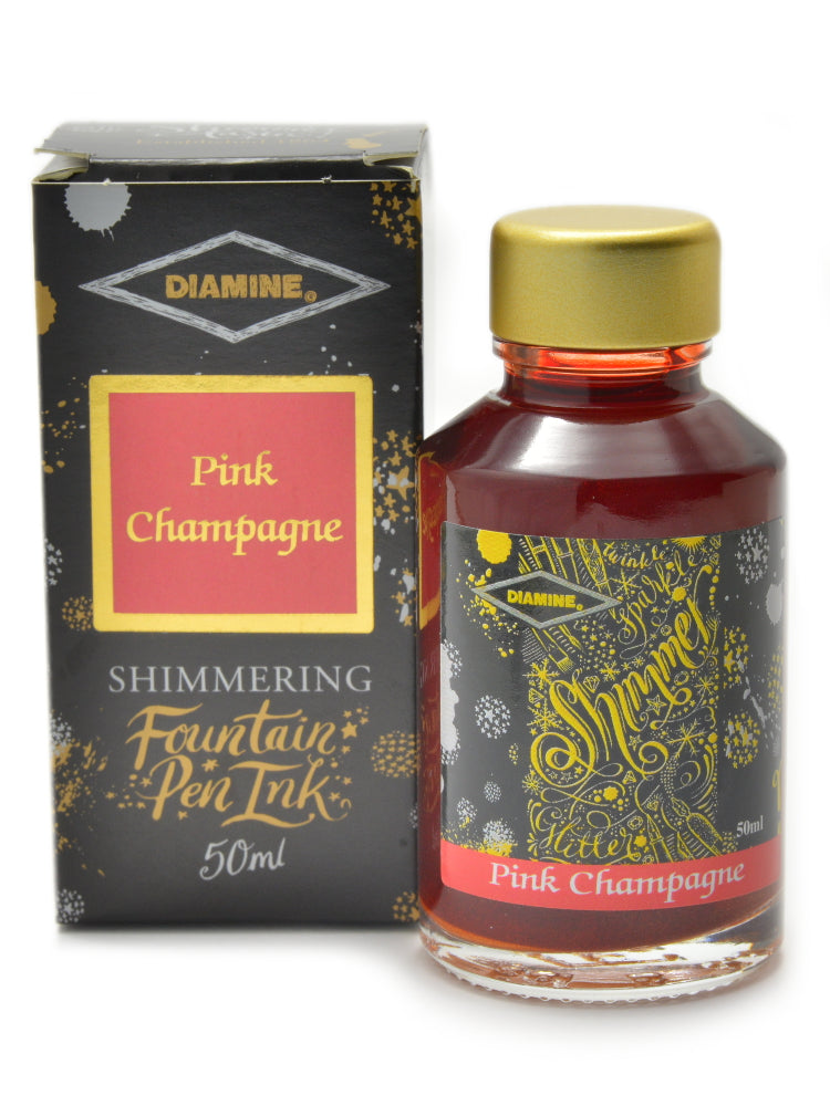 Diamine Shimmertastic Pink Champagne fountain pen ink is available in a 50ml glass bottle.