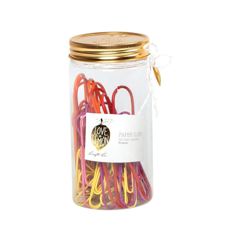 Love+Lemon Craft Co. Pink + Yellow Jar of Paper Clips