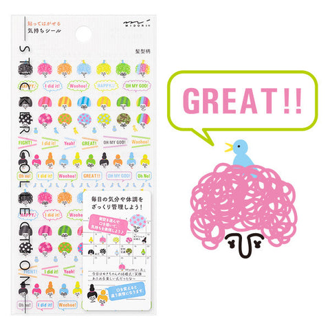 Midori Planner Stickers- Wild Hairstyles Emotions