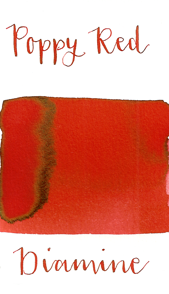 Diamine Poppy Red is a bright red fountain pen ink with low shading.