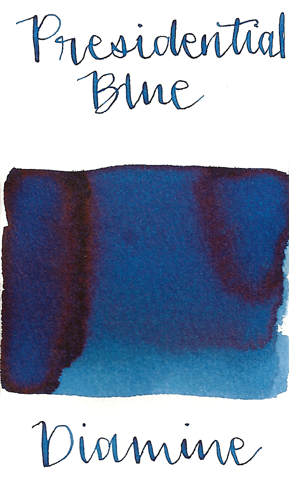 Diamine Presidential Blue is a medium dusky blue fountain pen ink with medium shading and low brown sheen.