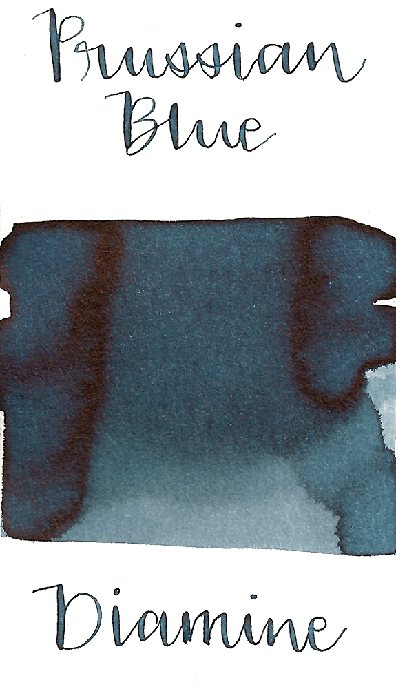 Diamine Prussian Blue is a medium blue black fountain pen ink with low shading