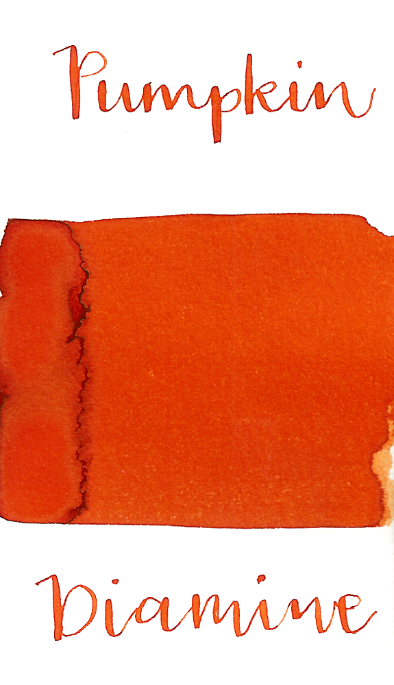 Diamine Pumpkin is a bright orange fountain pen ink with low shading and a pop of gold sheen in large swabs.