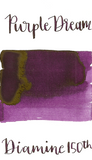 Diamine Purple Dream is a warm purple fountain pen ink with low shading and low gold sheen.