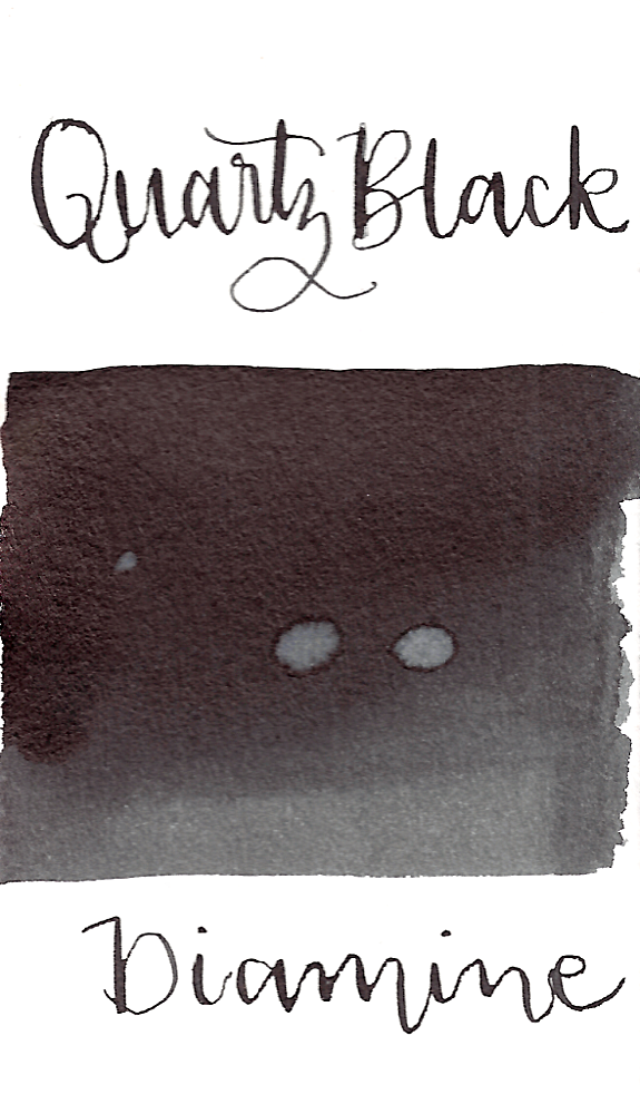 Diamine Quartz Black is a nice, neutral black fountain pen ink with low shading.