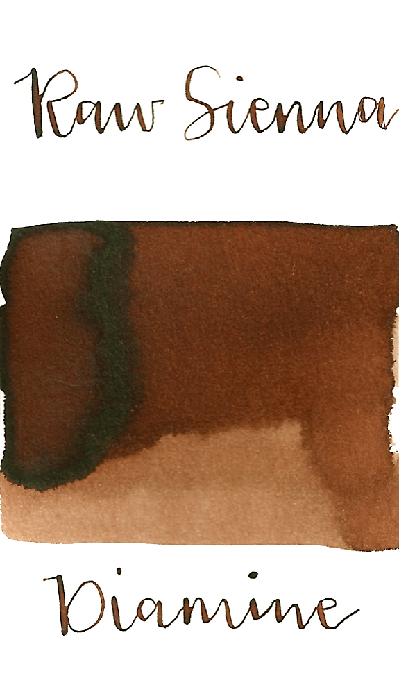 Diamine Raw Sienna is a warm, light brown fountain pen ink with medium shading.