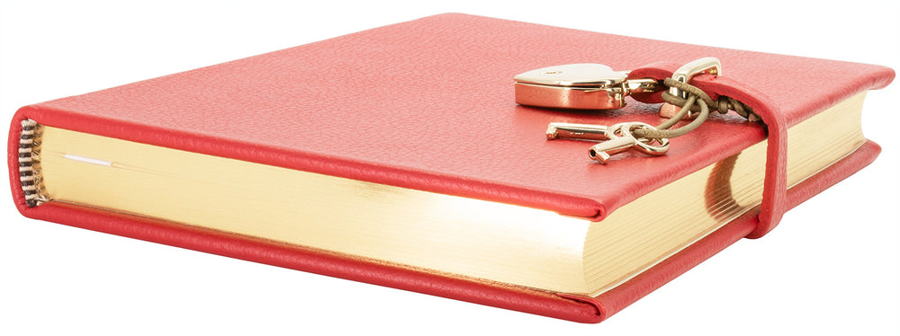 Graphic Image Red Goatskin Heart Lock Diary