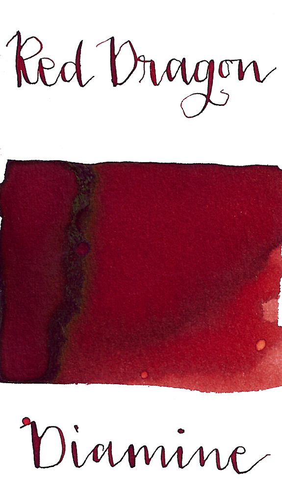 Diamine Red Dragon is a dark, desaturated red fountain pen ink with low shading and low gold sheen.
