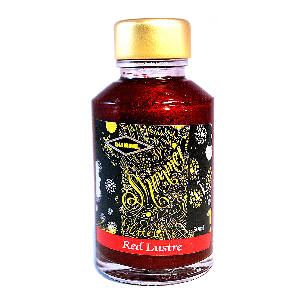 Diamine Shimmertastic Red Lustre fountain pen ink is available in a 50ml glass bottle.