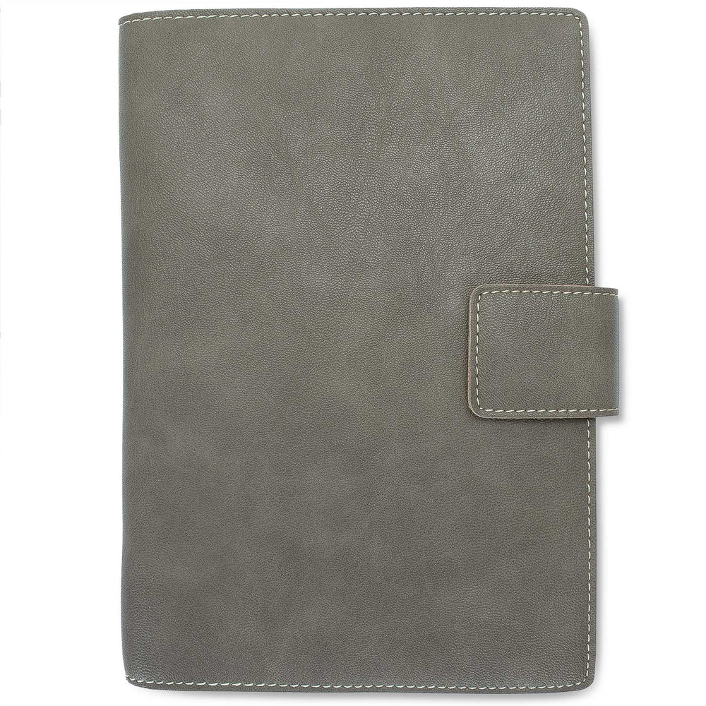 Fiorentina Refillable Snap Leather Journal- Grey