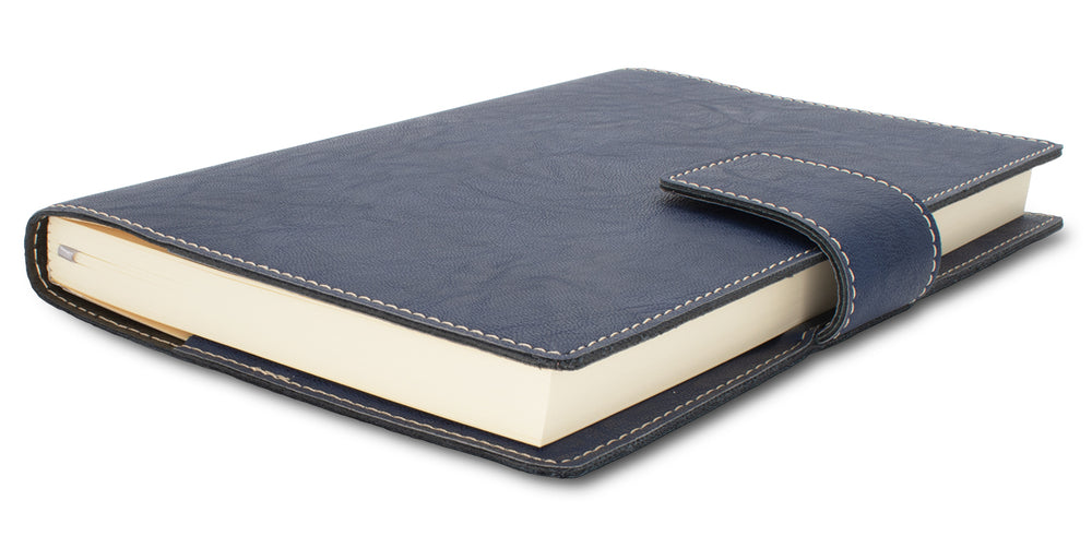 Fiorentina Refillable Snap Leather Journal- Nautic Blue