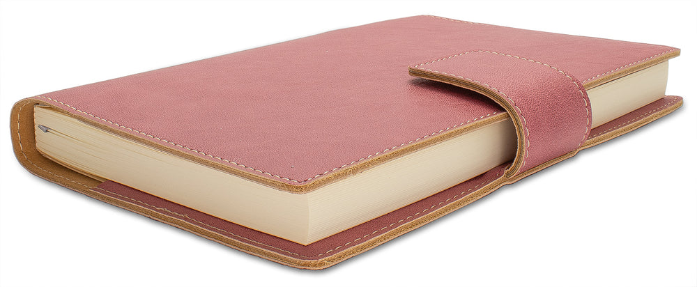 Fiorentina Refillable Snap Leather Journal- Pink