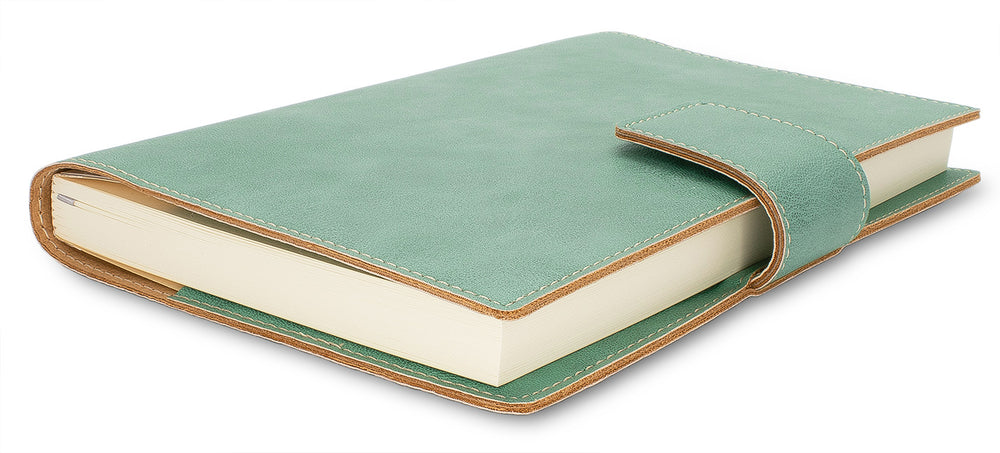 Fiorentina Refillable Snap Leather Journal- Sage Green