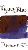 Diamine Regency Blue is a dark blue fountain pen ink with a violet undertone and high pink sheen.