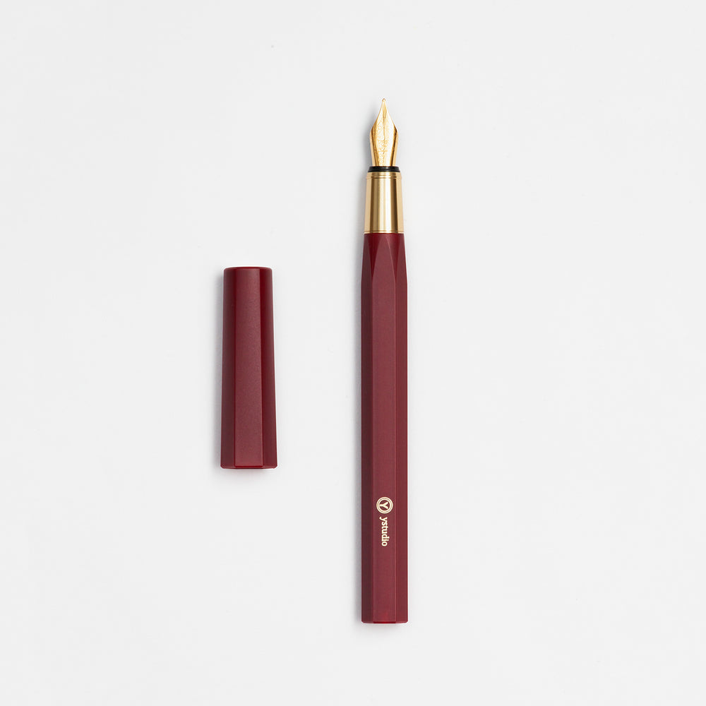 ystudio Resin and Brass Fountain Pen- Red