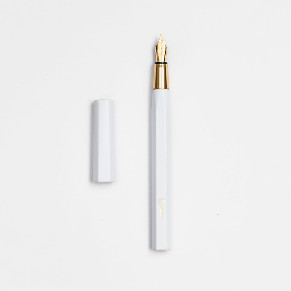 ystudio Resin and Brass Fountain Pen- White