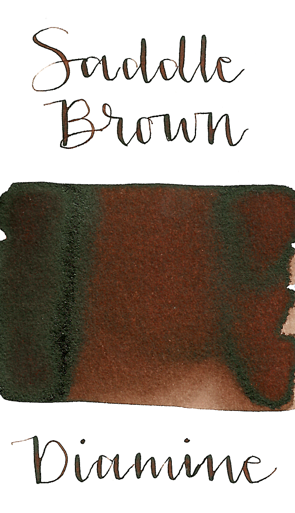 Diamine Saddle Brown is a medium cool-toned brown fountain pen ink with low shading.