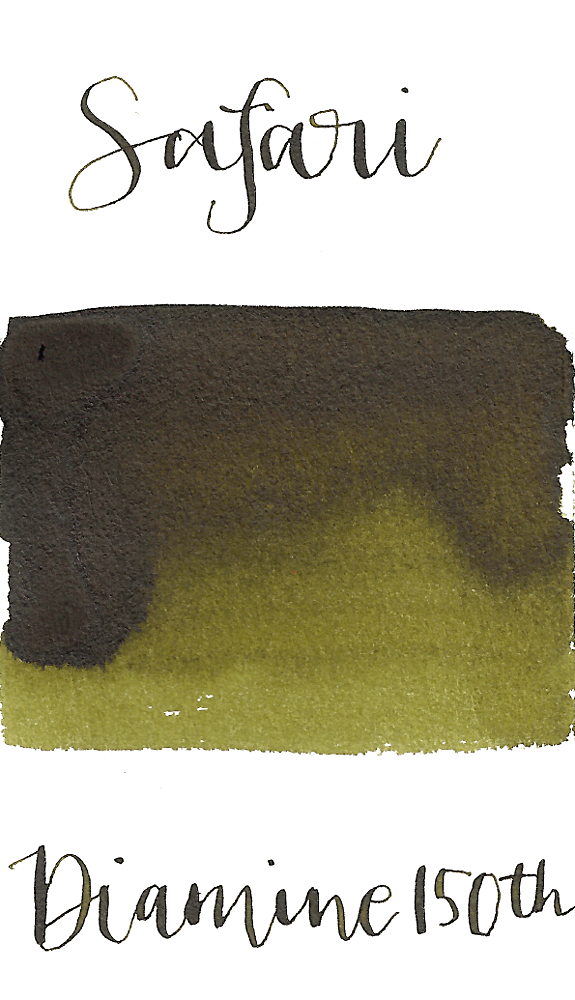Diamine Safari is a dark, army green fountain pen ink with medium shading.
