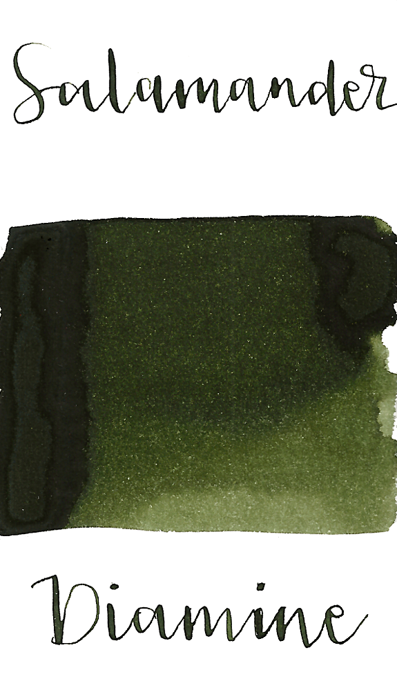 Diamine Salamander is a dark olive-toned green fountain pen ink with low shading