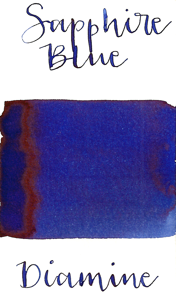 Diamine Sapphire Blue is a gorgeous medium blue fountain pen ink  with low shading and low brown sheen.