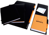 Rhodia #148 Black Leatherette Holder with Orange Graph Notepad