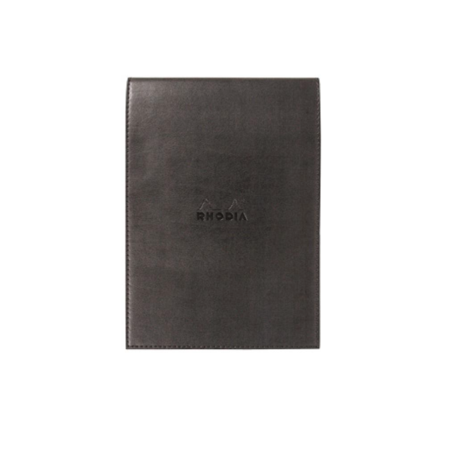 Rhodia #16 Black Leatherette Holder with Orange Graph Notepad