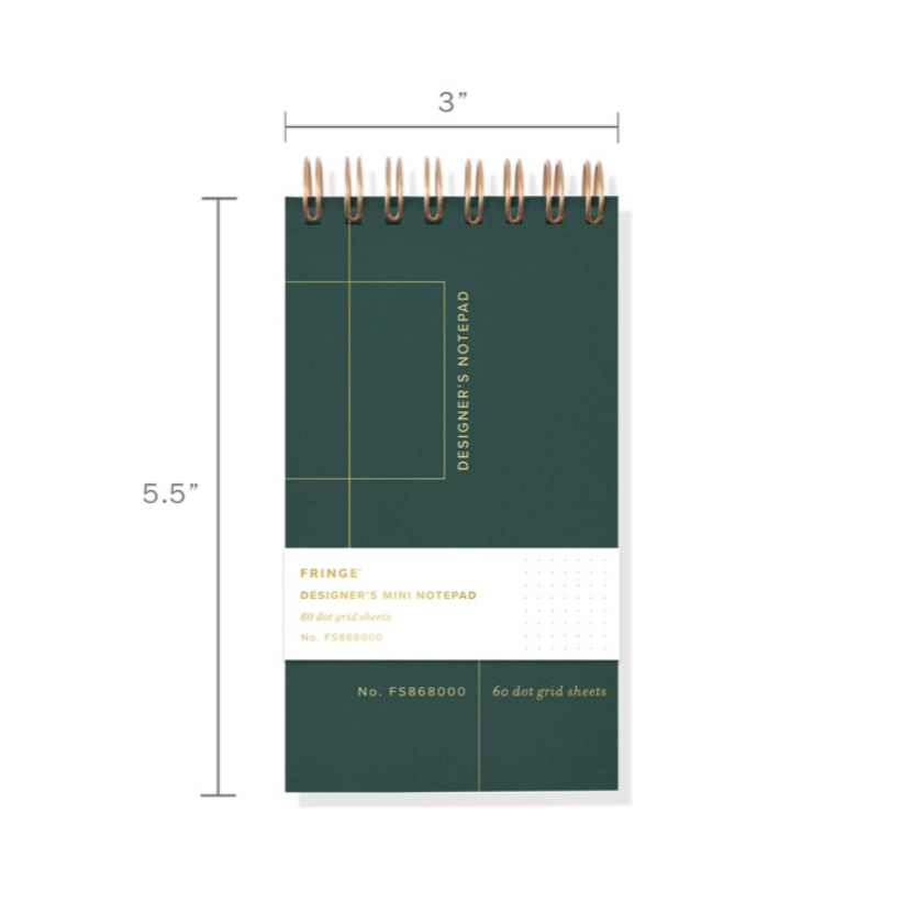 Fringe Stuido Grid Mini Designer's Notepad  |  Green