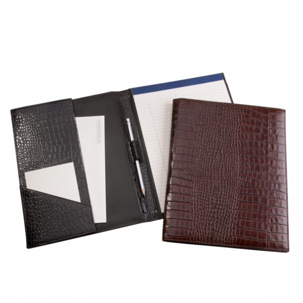Graphic Image Large Portfolio- Brown Crocodile Embossed Leather