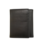 ili New York Leather Tri-Fold Wallet - Black