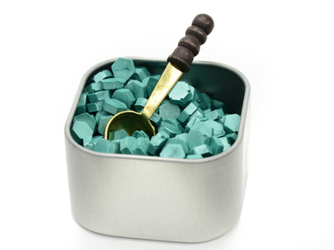 Freund Mayer Sealing Wax Beads in Tin with Spoon- Teal