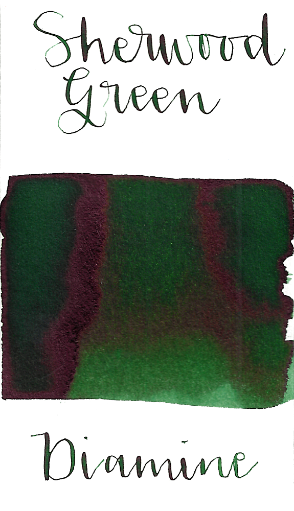 Diamine Sherwood Green is a classic forest green fountain pen ink with medium shading and low red sheen.