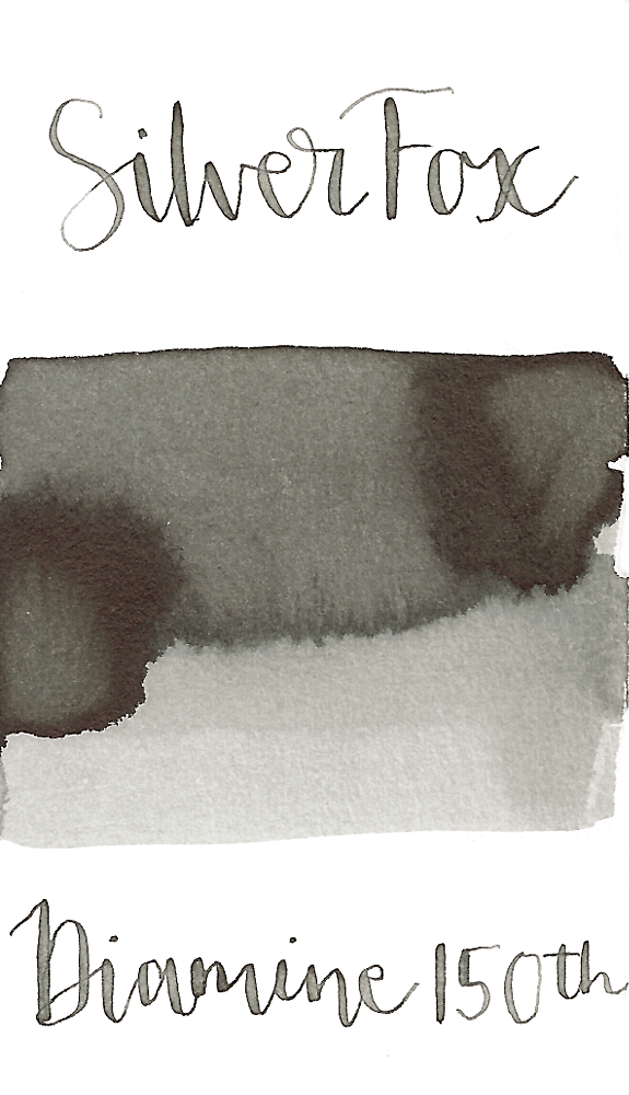 Diamine Silver Fox is a light, silver grey fountain pen ink with medium shading.