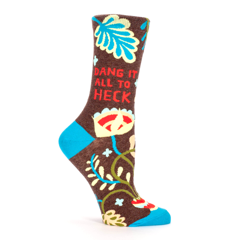 Blue Q Women's Crew Socks, Dang It All To Heck