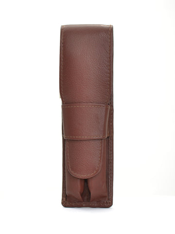 Girologio Soft Leather 2 Pen Case Brown