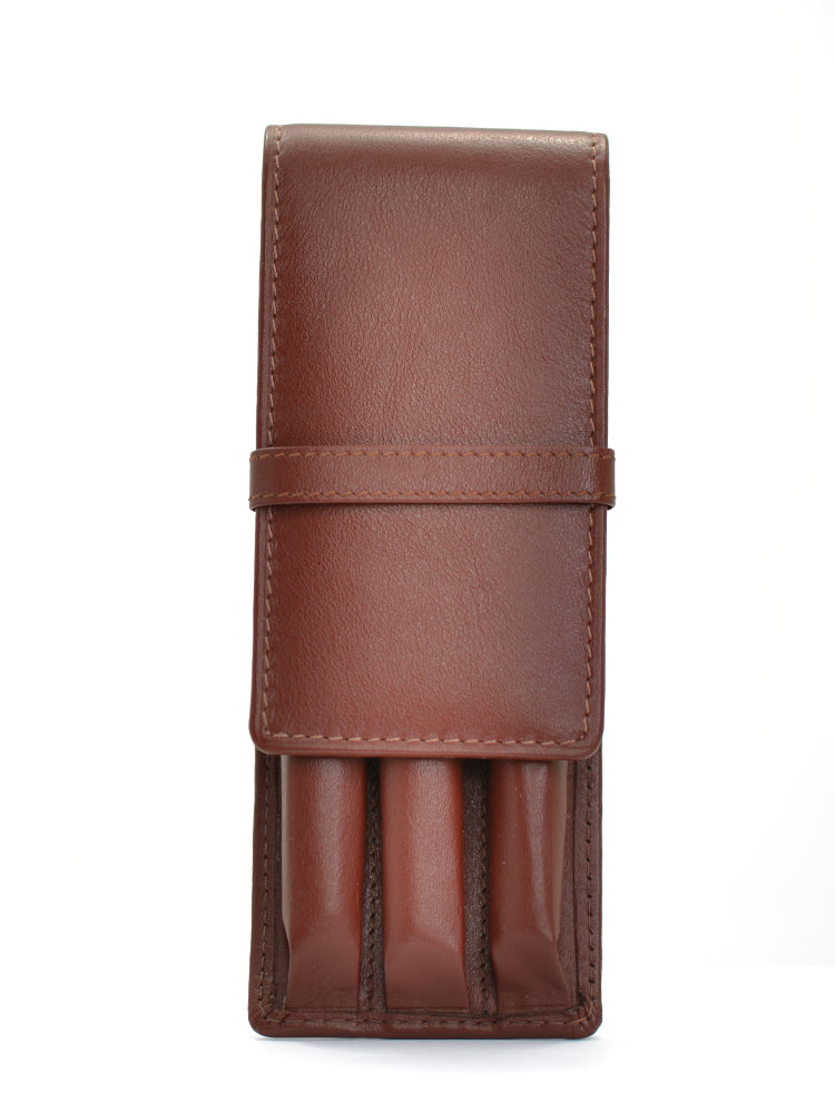 Girologio Soft Leather 3 Pen Case Antique Brown