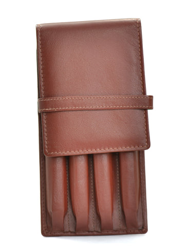 Girologio Soft Leather 4 Pen Case Brown