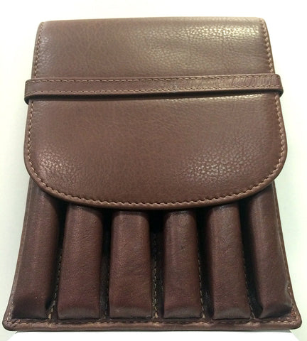 Girologio Soft Leather 6 Pen Case Brown