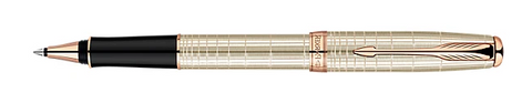 Parker Retired Sonnet Silver Cisele Pink Gold Trim Rollerball