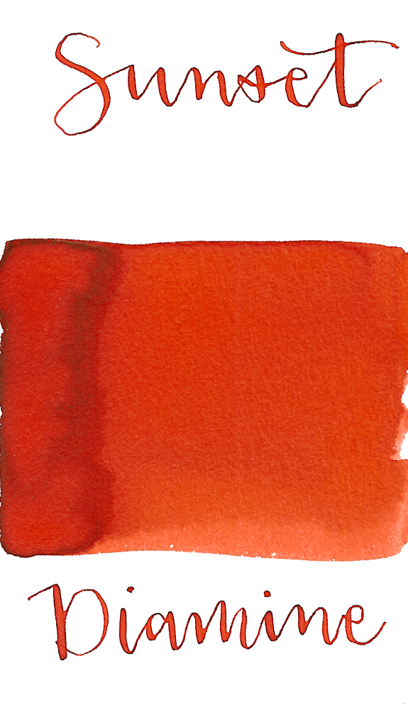 Diamine Sunset is a vibrant red-orange fountain pen ink with medium shading.