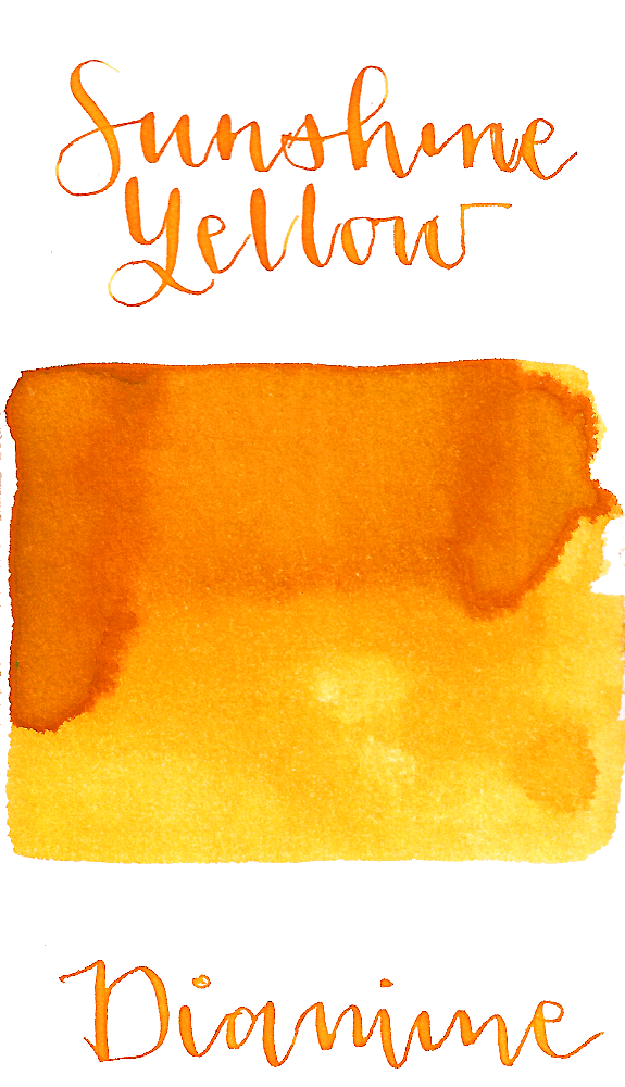 Diamine Sunshine Yellow is a cheerful bright yellow-orange fountain pen ink  with low shading.