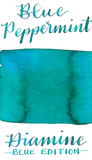 Diamine Blue Edition Blue Peppermint is a festive turquoise fountain pen ink with icy, cool blue shimmer.