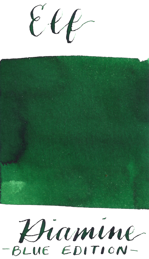 Diamine Blue Edition Elf is a medium green fountain pen ink.