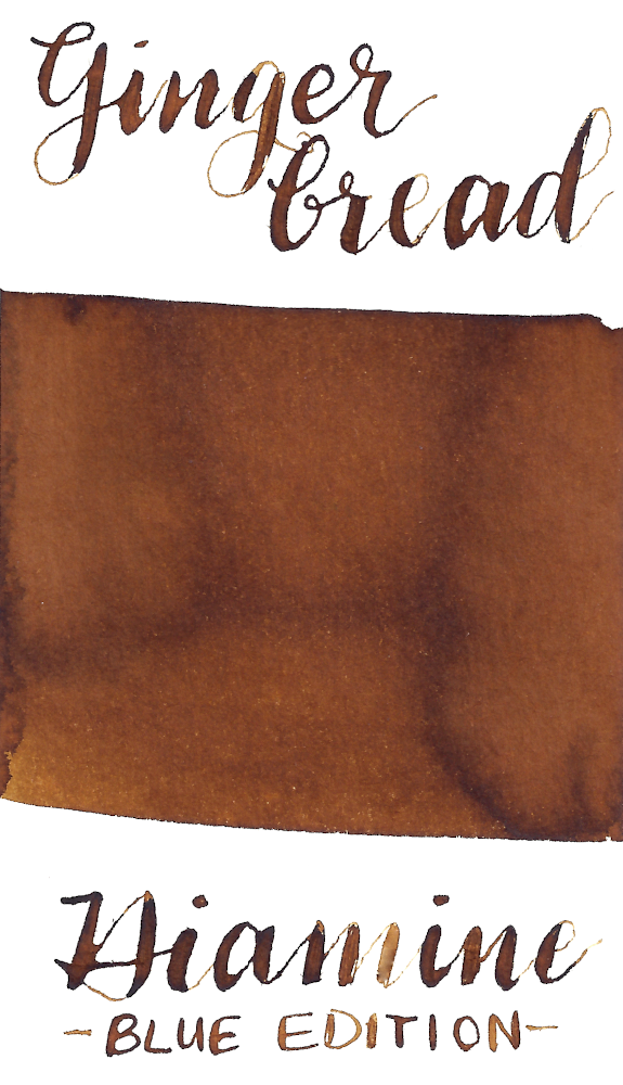 Diamine Blue Edition Gingerbread is a spicy, warm light brown fountain pen ink.