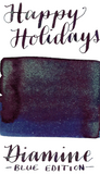 Diamine Blue Edition Happy Holidays is deep velvety blue fountain pen ink that also features copper sheen and aqua blue-green shimmer.