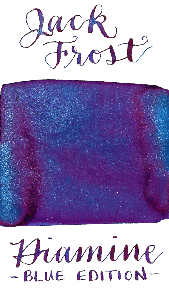Diamine Blue Edition Jack Frost is a saturated blue fountain pen ink that also features bright red sheen and frosty blue shimmer.