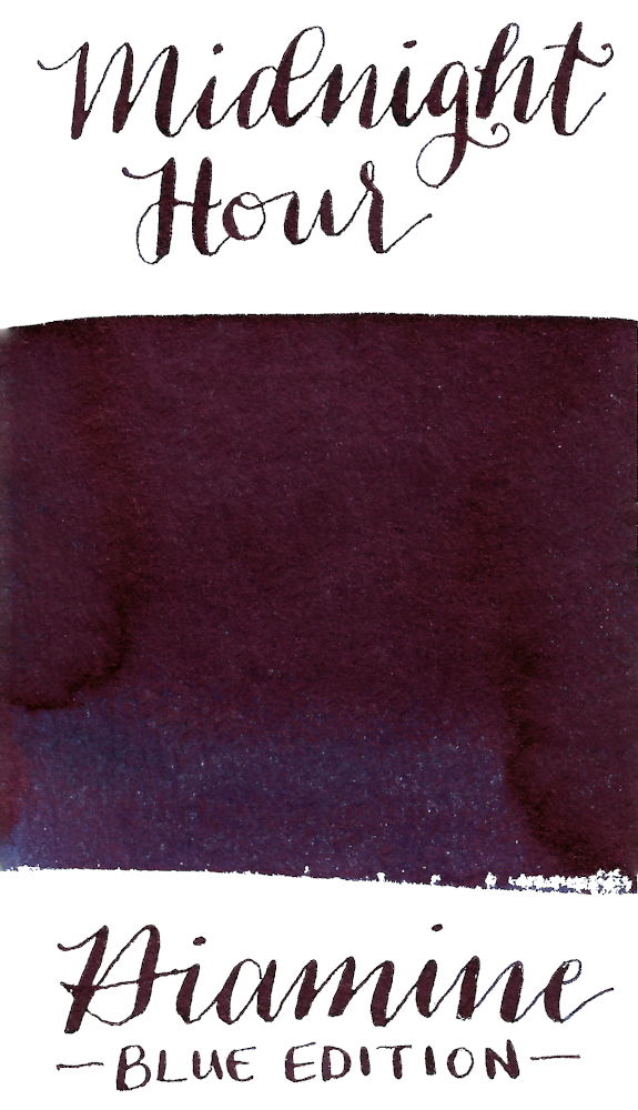 Diamine Blue Edition Midnight Hour is a saturated blue black fountain pen ink with high copper sheen.