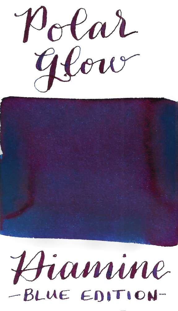 Diamine Blue Edition Polar Glow is a deep cool turquoise fountain pen ink featuring a warm red sheen.