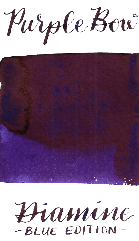 Diamine Blue Edition Purple Bow is a rich, deep purple fountain pen ink with high copper sheen in large swabs.